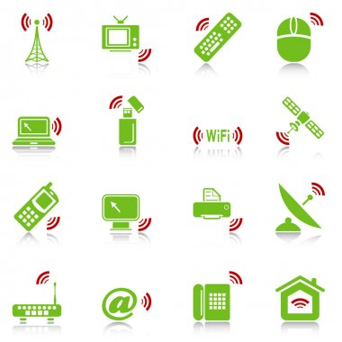 Wireless devices icons - green-red series