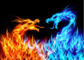Photo Blue and red fire Dragons