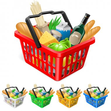 Shopping basket with foods. Realistic illustration for design stock vector