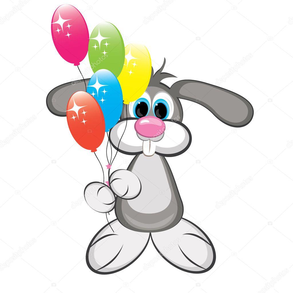 Coniglio cartone animato con palloncini colorati
