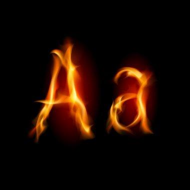 Fiery font. Letter A