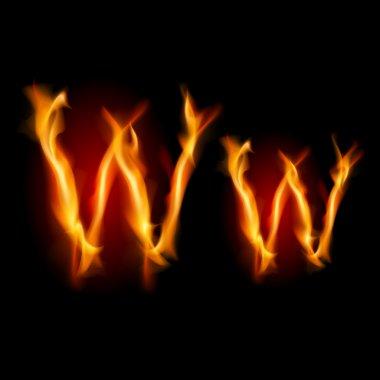 Fiery font. Letter W