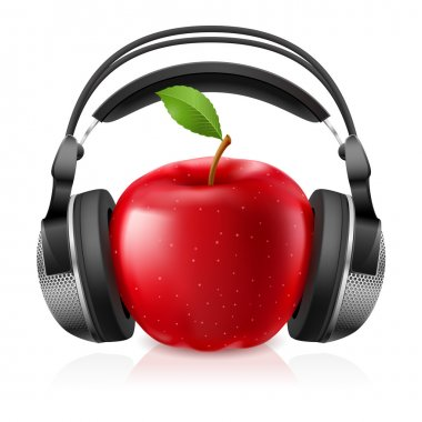 Realistic computer headset with red apple