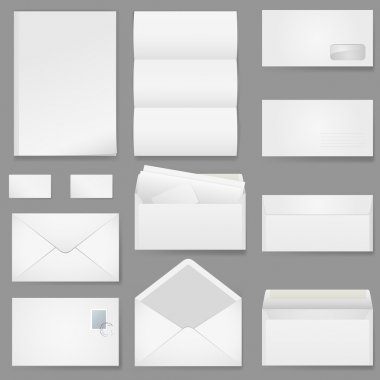 Office paper of different types. Illustration on white background. stock vector