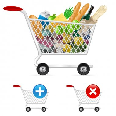 Shopping cart full of different products. Illustration on white background stock vector