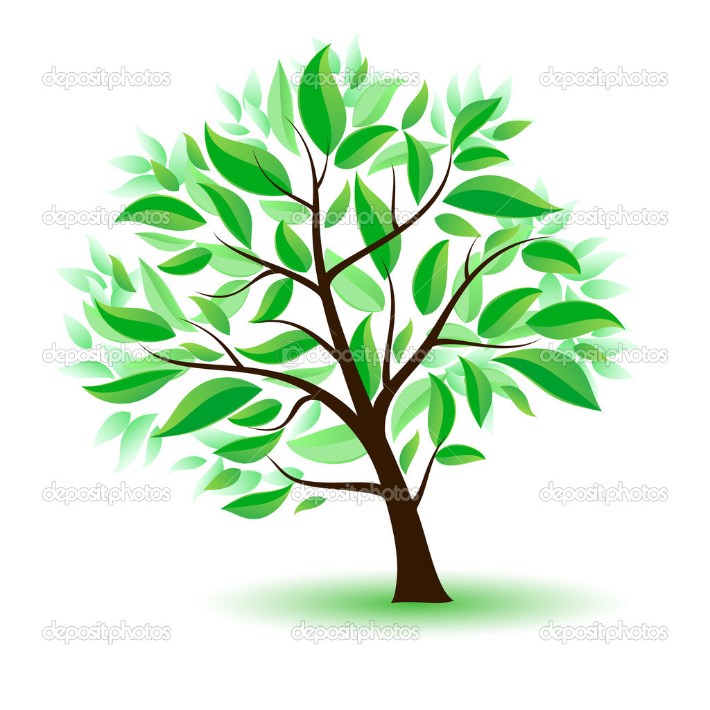 Stylized tree with green leaves.