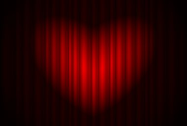 Stage with red curtain and spotlight great, heart-shaped