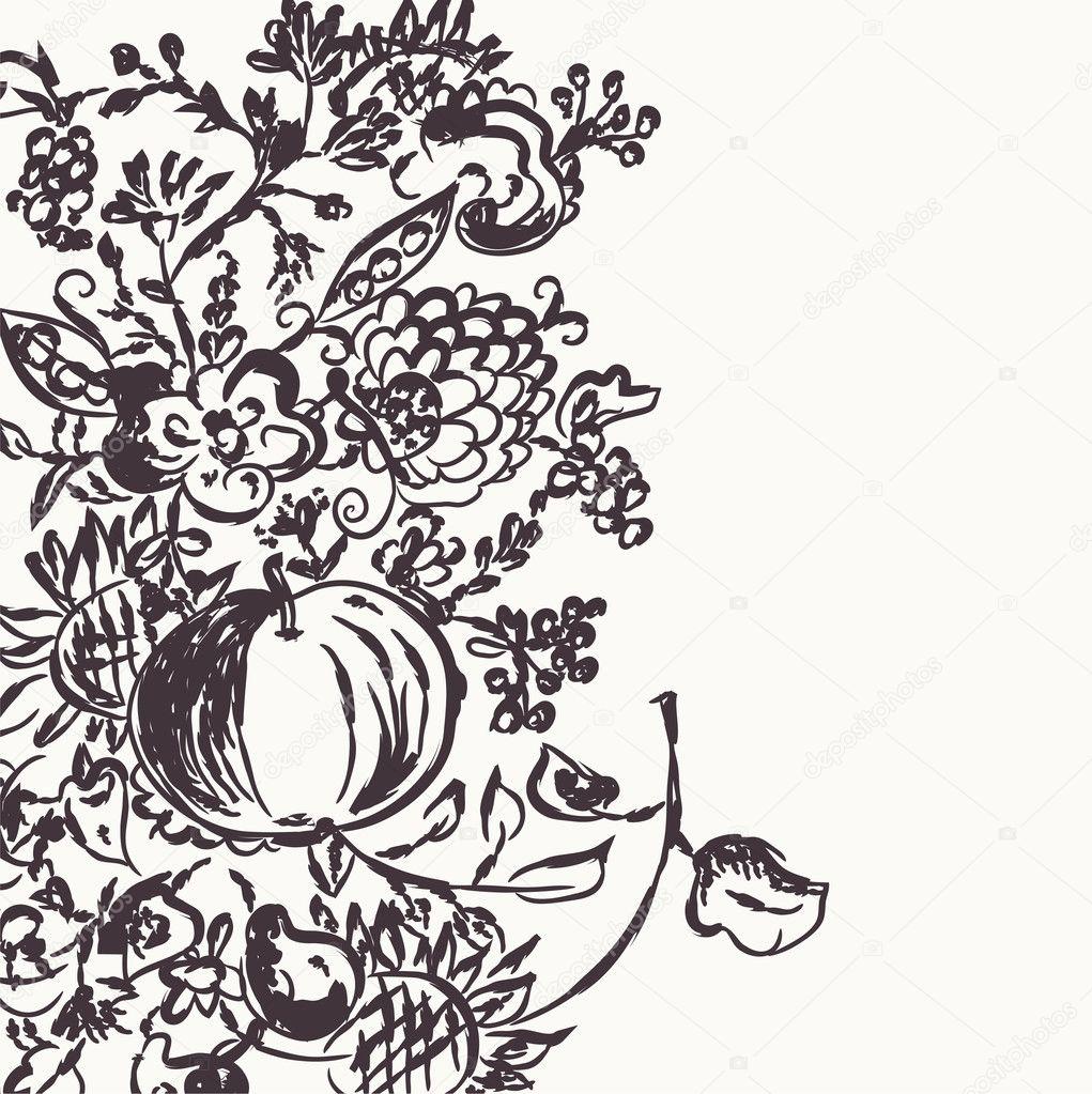Herbst Grafik Vorlage mit Blumen — Stockvektor © Tasia12 #6858336