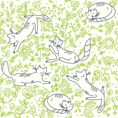 Seamless floral wallpaper with cats