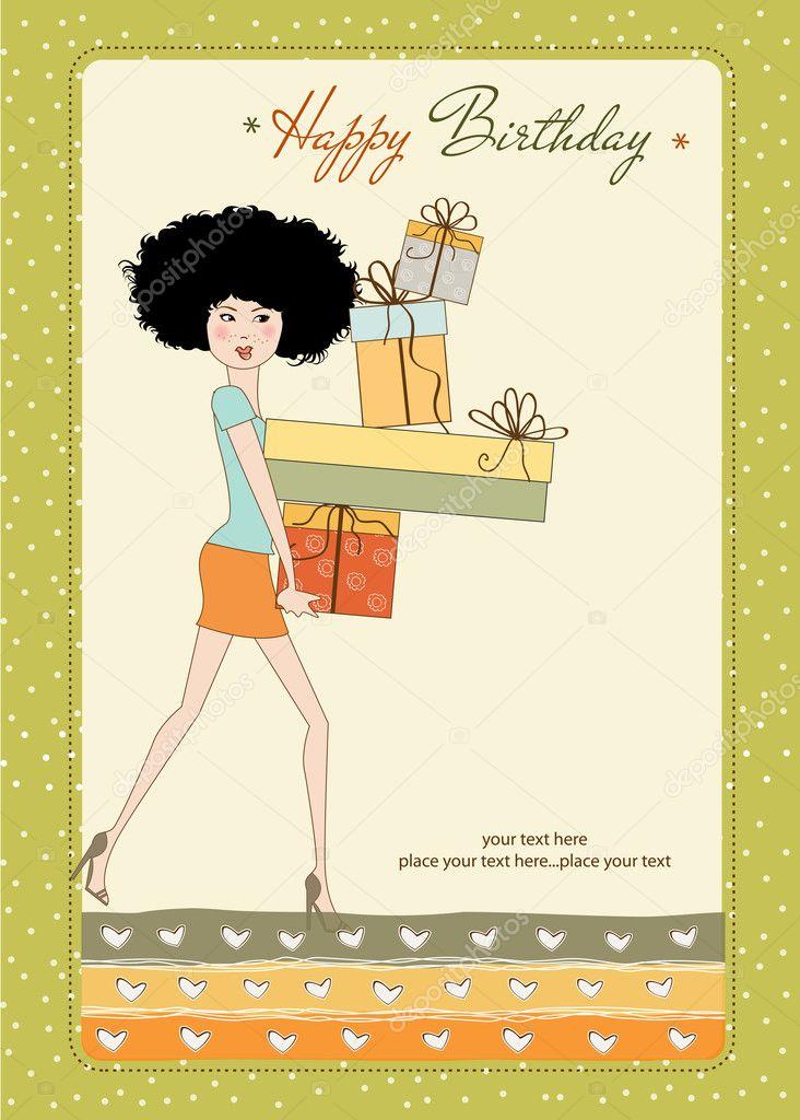 Verjaardagskaart Vrij Jonge Dame Met Armen Vol Met Geschenken