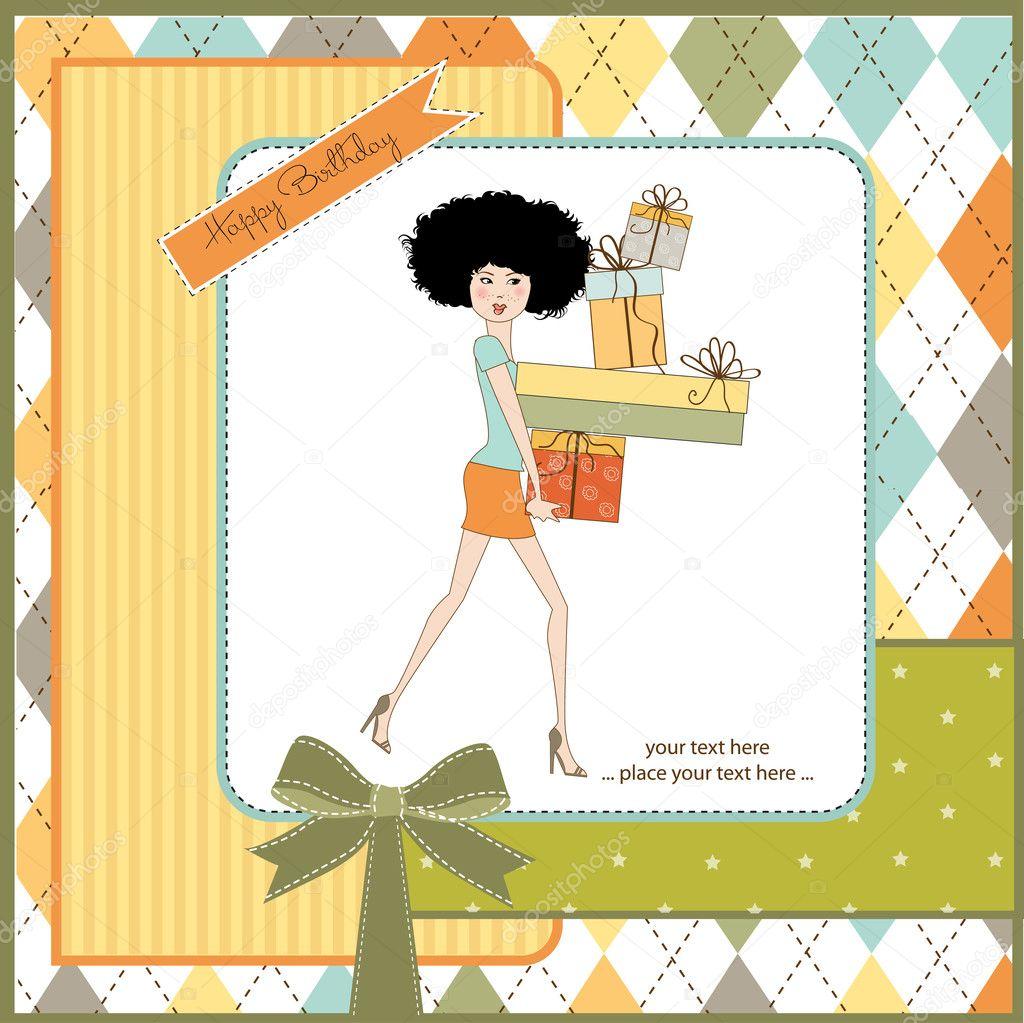 Vrij Jonge Dame Met Armen Vol Met Geschenken Stockfoto