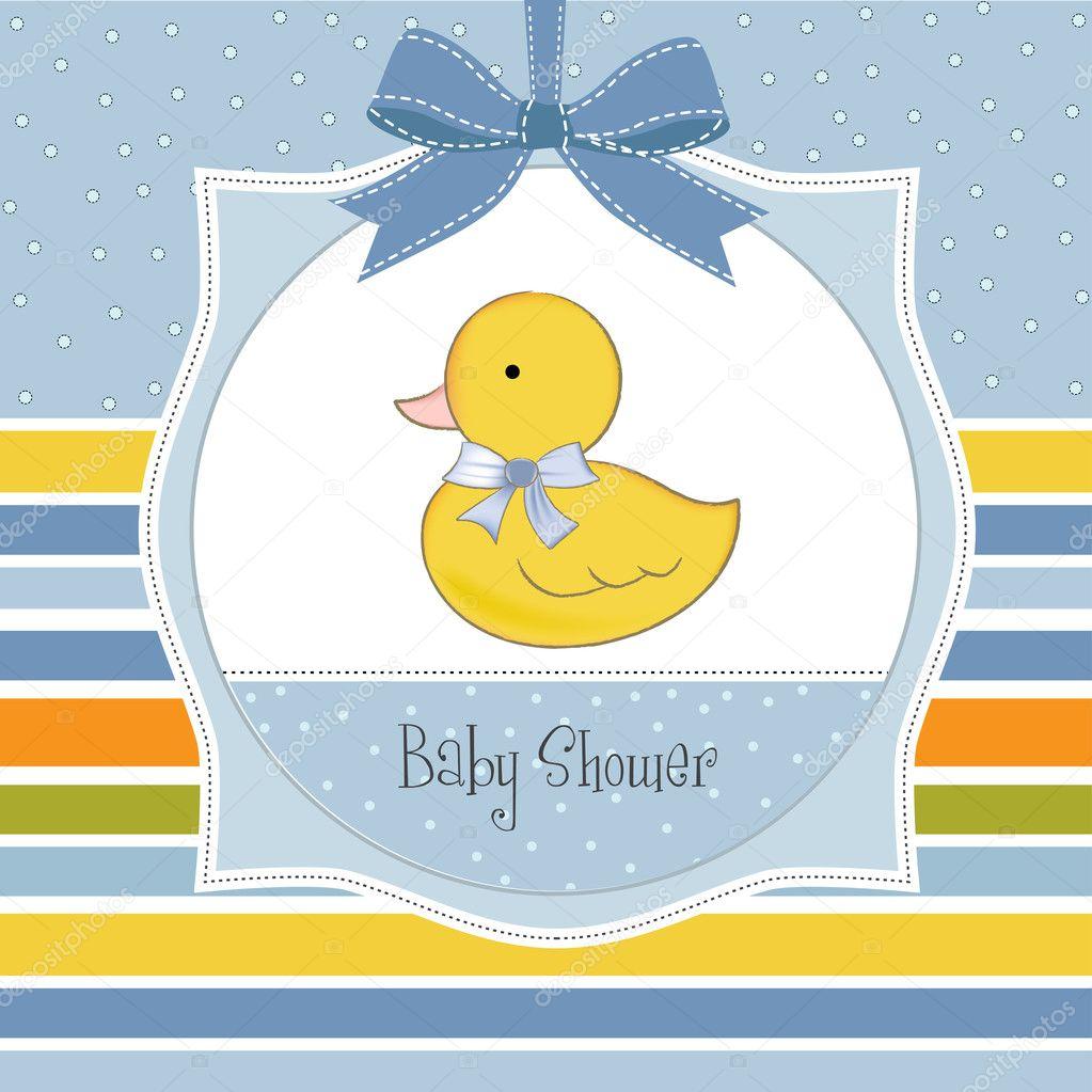 Baby shower invitation with duck — Stock Photo © ClaudiaBalasoiu ...