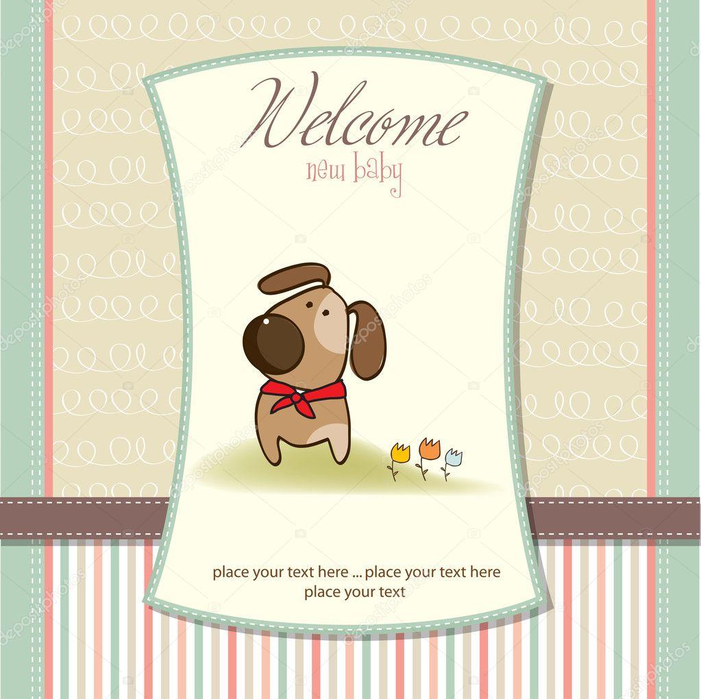 Baby Shower Invitation With Dog U2014 Stock Photo