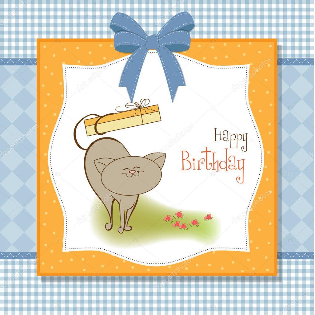 happy birthday card with cute cat u2014 stock photo claudiabalasoiu
