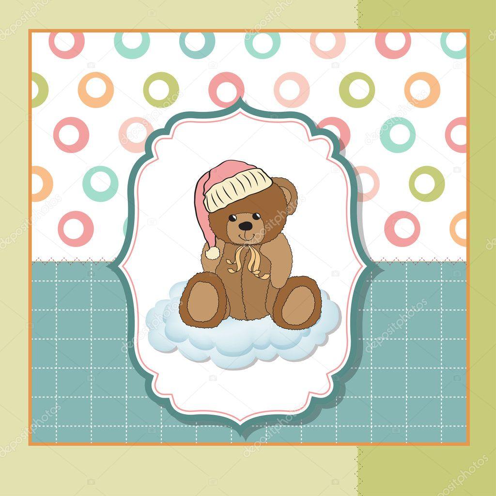 Baby Greeting Card With Sleepy Teddy Bear Stock Photo