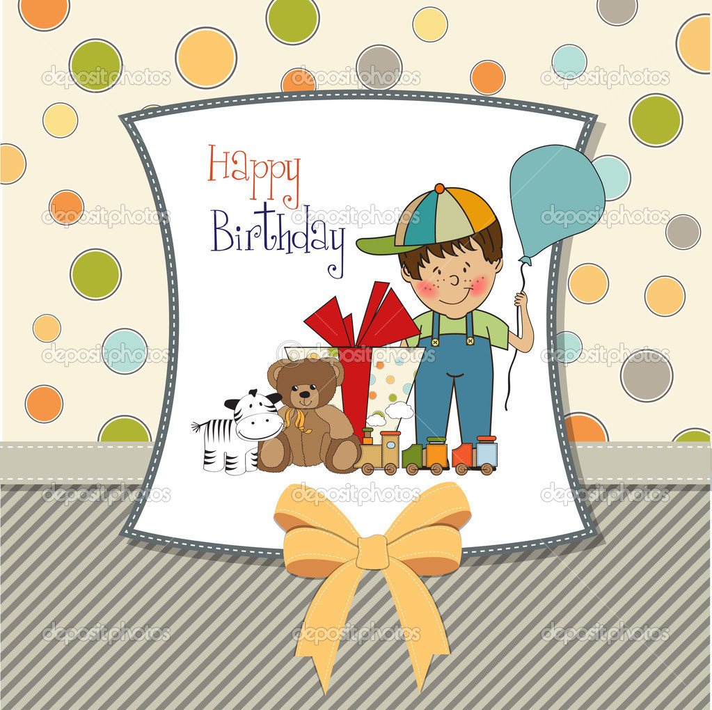 Birthday Greeting Card With Little Boy And Presents Stock Image