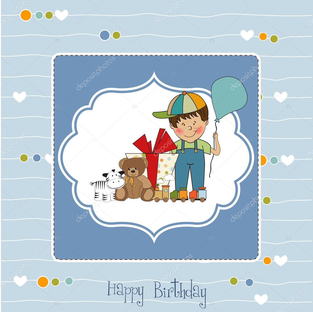 Birthday greeting card with little boy and presents stock photo birthday greeting card with little boy and presents photo by claudiabalasoiu kristyandbryce Choice Image
