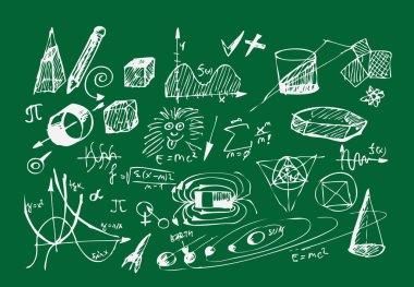 school icons on the blackboard