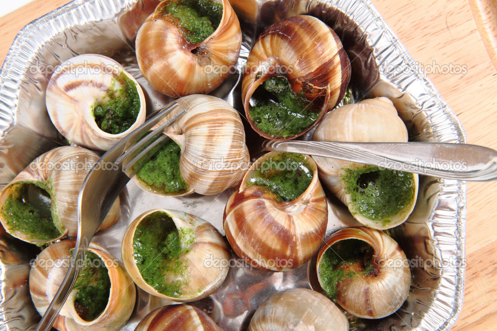 snails as nice french gourmet food background stock. Black Bedroom Furniture Sets. Home Design Ideas