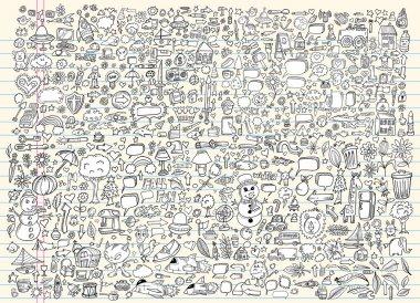 Massive Mega Doodle Sketch Notebook Vector Elements Set Illustration Art