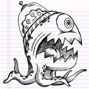 Notebook Doodle Sketch Alien Monster Drawing Vector Illustration Art
