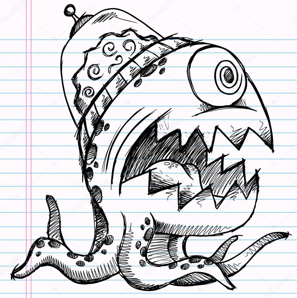 Monstre extraterrestre de croquis doodle de portable vector illustration art de dessin image - Dessins de monstres ...