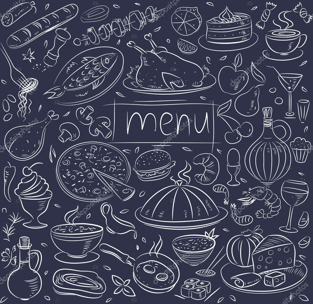 Food sketch on black stock vector