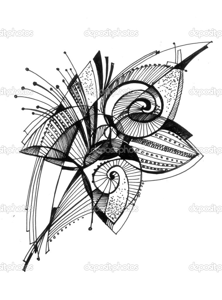 Depositphotos Stock Photo Flower Abstract Drawing Pencil Drawings