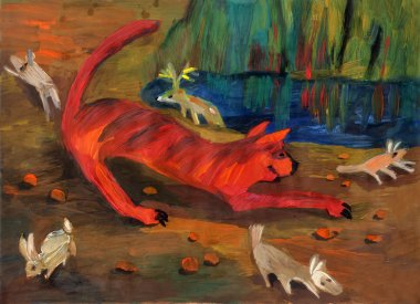 Scenic image, executed in gouache - a cheerful tiger