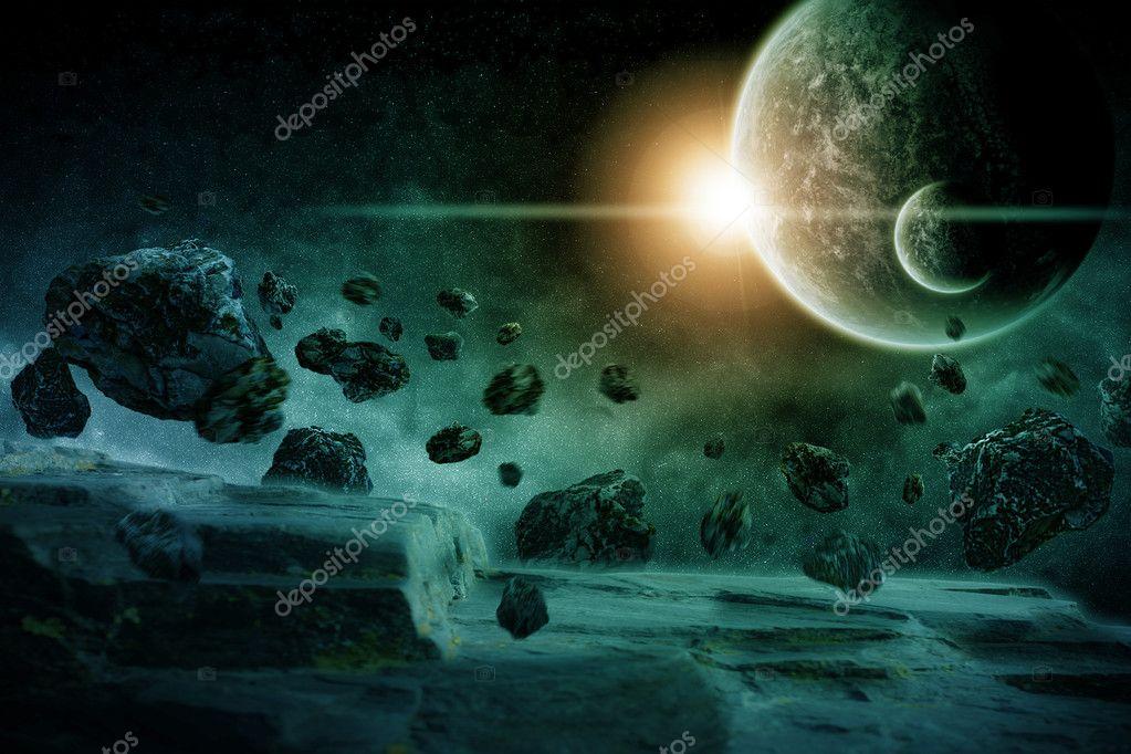 Space planet landscape illustration