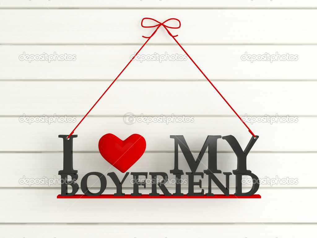 Wooden Wall Labled I Love My Boyfriend Stock Photo Kosheen