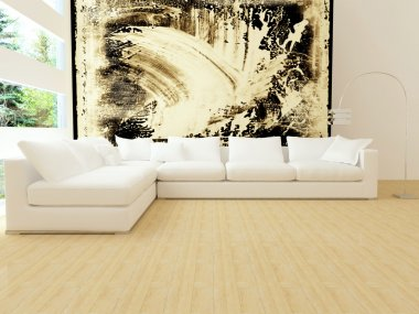 Interior design of modern white living room