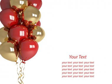 Happy birthday balloons isolated on white background. Greeting C