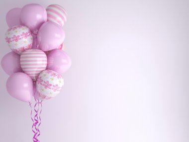 Pink balloons. Celebration concept background.