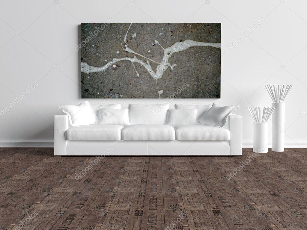 moderne interieur van witte minimalistische woonkamer — Stockfoto ...