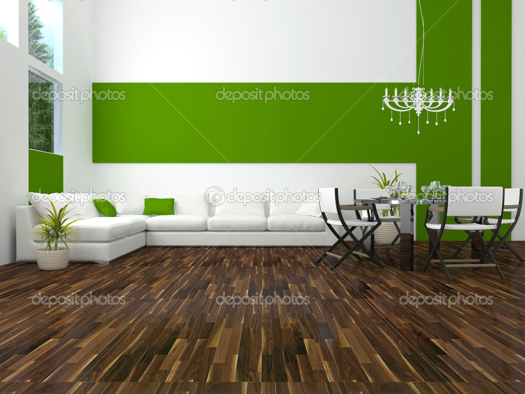 Interior design of modern green living room stock photo for Interieur design