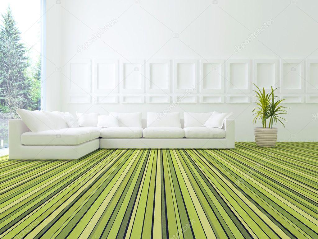 Salotto Moderno Verde : Interior design del salotto moderno bianco e verde u foto stock