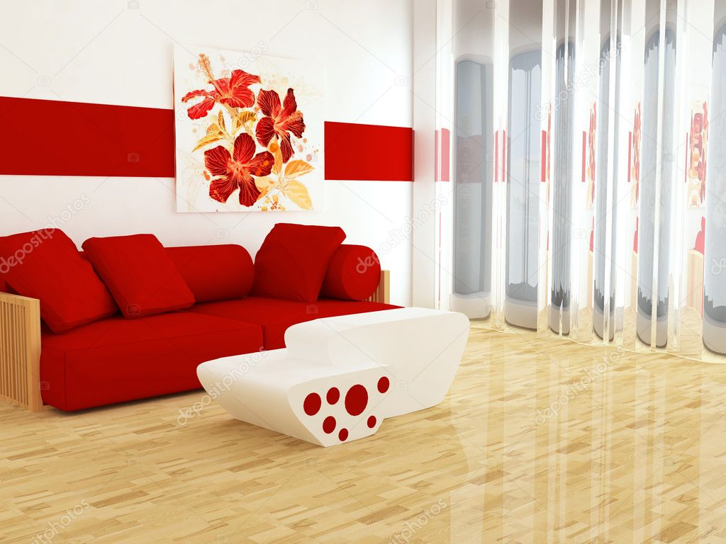 interieur van witte en rode woonkamer — Stockfoto © kosheen #7867285
