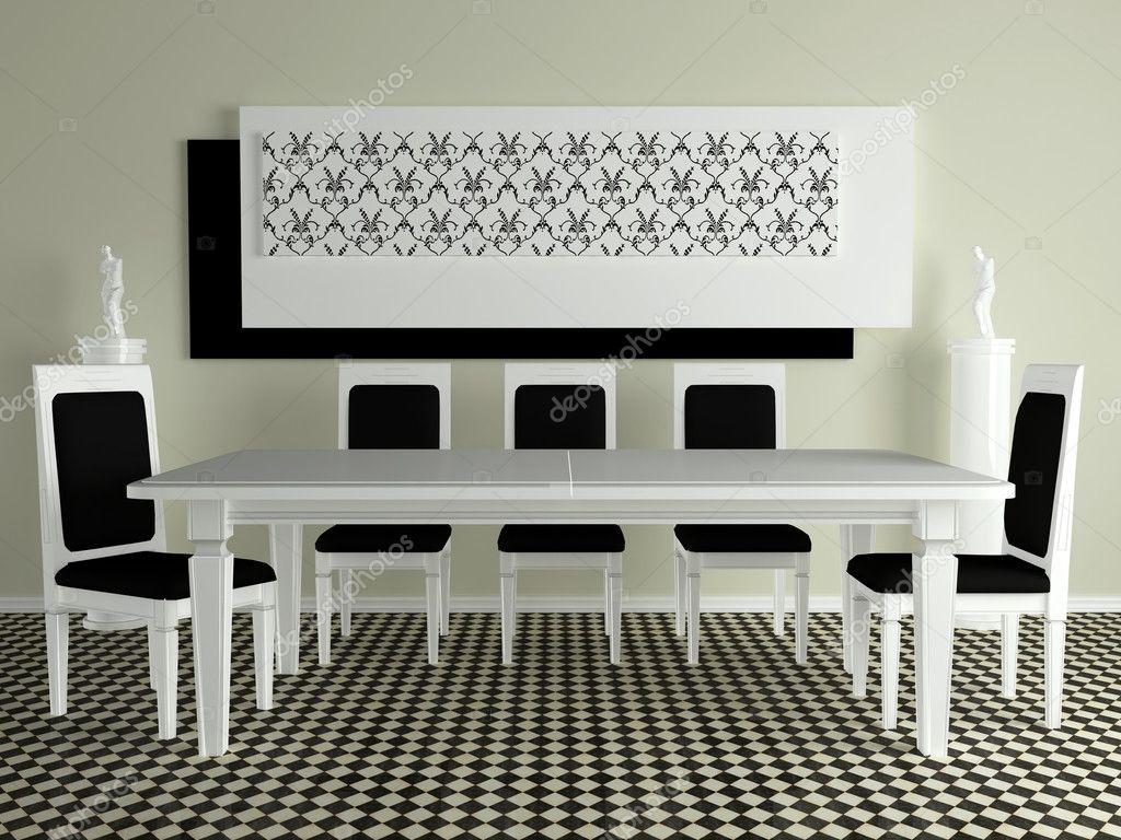Arredamento della sala da pranzo moderna foto stock for Arredamento sala moderna