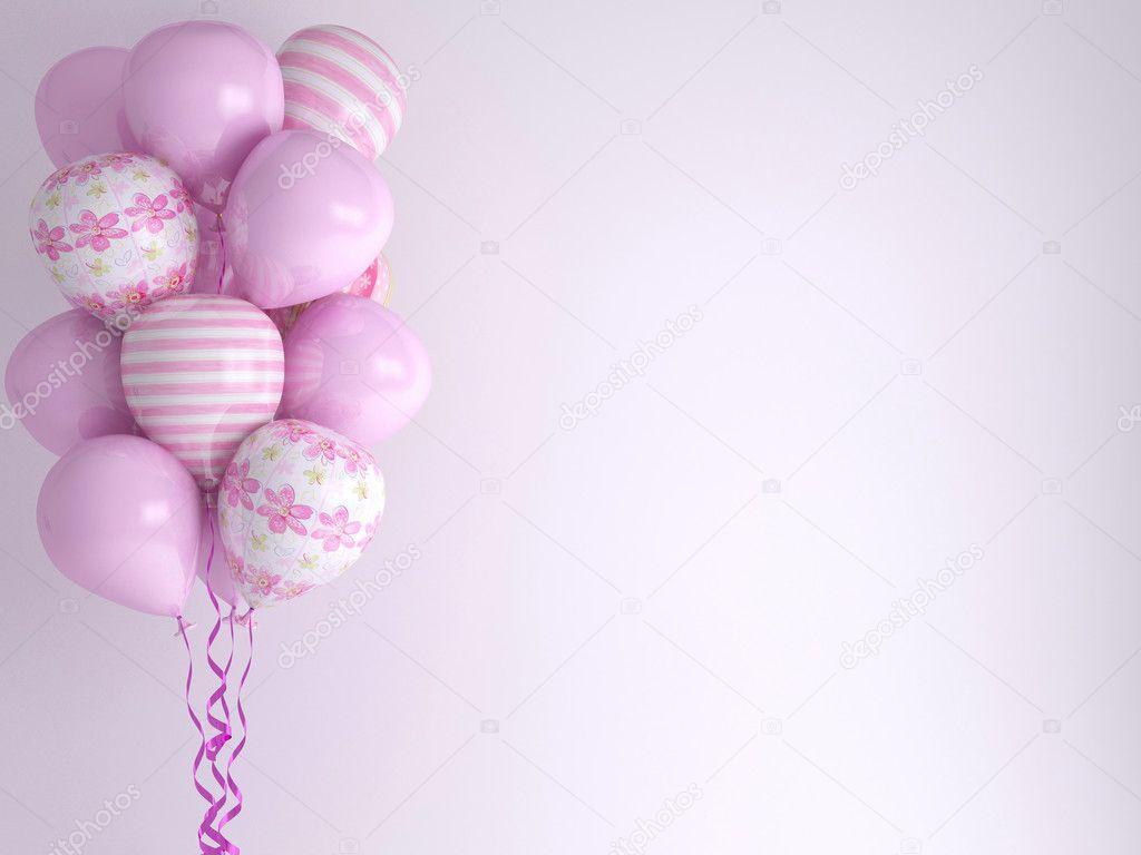 Pink balloons. Celebration concept background.