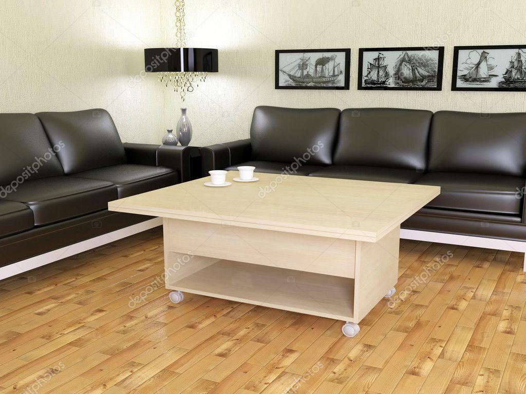 modern nappali két fekete kanapé és dohányzóasztal — Stock Fotó ...