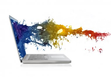 Wave of colored paint splashing out from a laptop screen stock vector