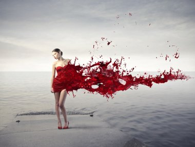 Beautiful woman with her dress melting in red paint stock vector