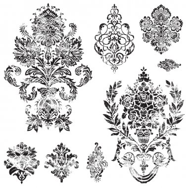 Vector Distressed Ornament Set