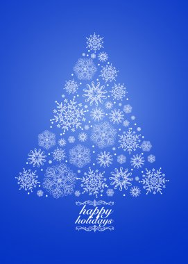 Vector Blue Holiday Snowflake Tree