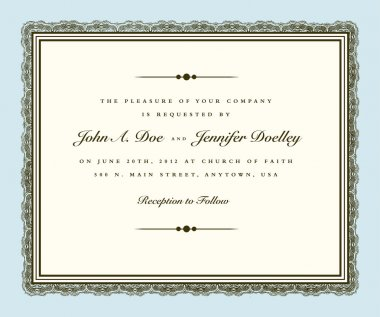 Vector Vintage Couture Wedding Invite Frame