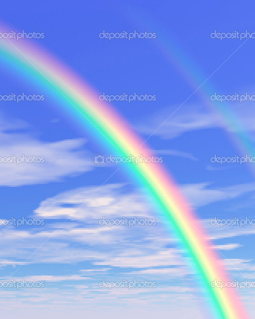 Beautiful sky illustration with rainbow