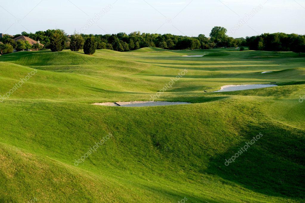A vibrant green golf course