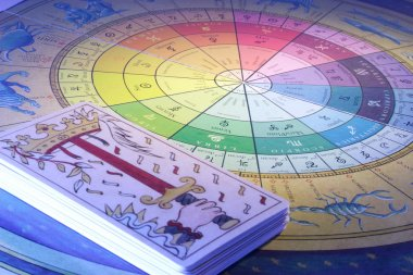 Tarot Cards and Zodiac Wheel