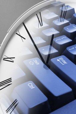 Clock and Computer Keyboard